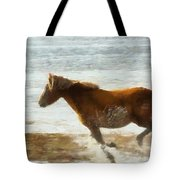 Wild Horse Running Through Water Tote Bag