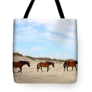 Wild Horses Of Corolla - Outer Banks Obx Tote Bag