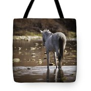 Wild Mustang On The River  Tote Bag