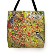 Wild Red Berrie Bush With Birds - Digital Paint Tote Bag