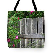 Wild Roses And Weathered Fence Tote Bag