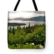 Wild Roses At Photographer's Point Overlooking Bonne Bay In Gros Morne Np-nl Tote Bag