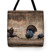 Wild Turkeys Tote Bag by Lori Deiter