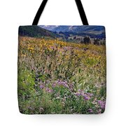 Wildflowers And Mountains  Tote Bag