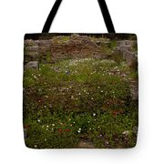 Wildflowers And Olympia Ruins   #9594 Tote Bag