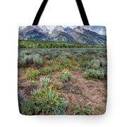 Wildflowers Bloom Below Teton Mountain  Range Tote Bag