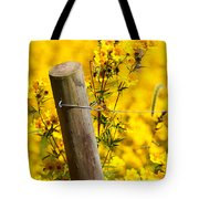 Wildflowers On Fence Post Tote Bag