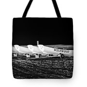 Wildwood Lifeboats At Night In Black And White Tote Bag