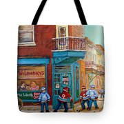 Wilensky Montreal-fairmount And Clark-montreal City Scene Painting Tote Bag by Carole Spandau