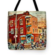 Wilenskys Paintings Hockey Art Commissions Originals Prints By Authentic Montreal Artist C Spandau Tote Bag