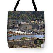 Willamette Falls Dam In Oregon City Panorama 3 Tote Bag