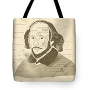 William Shakespeare Typography Portrait  Tote Bag