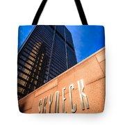 Willis-sears Tower Skydeck Sign Tote Bag by Paul Velgos