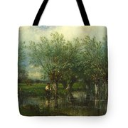 Willows With A Man Fishing Tote Bag