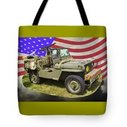 Willys World War Two Army Jeep And American Flag Tote Bag