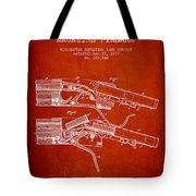 Winchester Firearm Patent Drawing From 1877 - Red Tote Bag