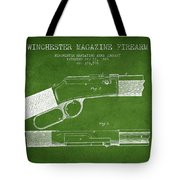 Winchester Firearm Patent Drawing From 1888- Green Tote Bag