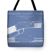 Winchester Firearm Patent Drawing From 1888- Light Blue Tote Bag