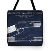 Winchester Firearm Patent Drawing From 1888- Navy Blue Tote Bag