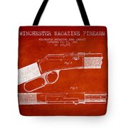 Winchester Firearm Patent Drawing From 1888- Red Tote Bag