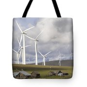 Wind Farm By Cattle Ranch In Washington State Tote Bag