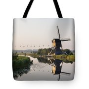 Wind Mill On A Canal, Holland Tote Bag