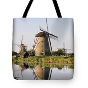 Wind Mills Next To Canal, Holland Tote Bag