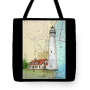 Wind Pt Lighthouse Wi Nautical Chart Map Art Cathy Peek Tote Bag