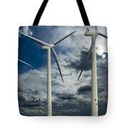 Wind Turbines Blue Sky Tote Bag