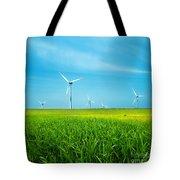 Wind Turbines On Green Field Tote Bag