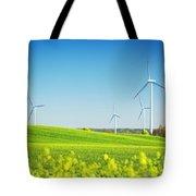 Wind Turbines On Spring Field Tote Bag