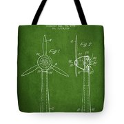 Wind Turbines Patent From 1984 - Green Tote Bag