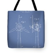 Wind Turbines Patent From 1984 - Light Blue Tote Bag