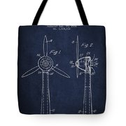 Wind Turbines Patent From 1984 - Navy Blue Tote Bag