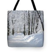 Winding Snowy Road In Winter Tote Bag