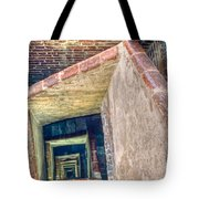 Winding Square Staircase Of Old Brick-walled Tower Tote Bag