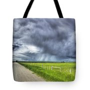 Windmill And Country Road With Storm Tote Bag