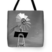 Windmill And Passing Plane Tote Bag