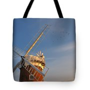 Windmill At Dusk On The Norfolk Broads In Autumn Tote Bag