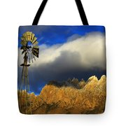 Windmill At The Organ Mountains New Mexico Tote Bag by Bob Christopher