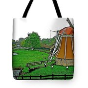 Windmill In A Park In Enkhuizen-netherlands Tote Bag