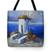 Windmill In Greece Tote Bag