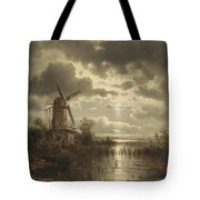 Windmill In The Moonlight Tote Bag