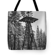 Windmill In The Snow Black And White Tote Bag