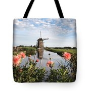 Windmill Landscape In Holland Tote Bag