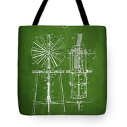 Windmill Patent Drawing From 1899 - Green Tote Bag