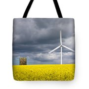 Windmill With Motion Blur In Rapeseed Field Tote Bag