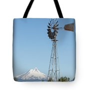 Windmill With Mount Jefferson In Central Oregon Tote Bag