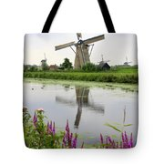Windmills Of Kinderdijk With Flowers Tote Bag