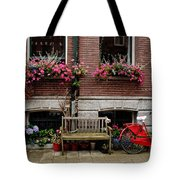 Window Box Bicycle And Bench  -- Amsterdam Tote Bag